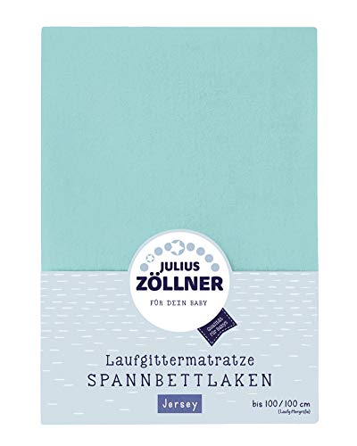Julius Zöllner 8390347600 Jersey Spanntuch, passend für Laufgittermatratzen 68x90 bis 95x95 cm, mint