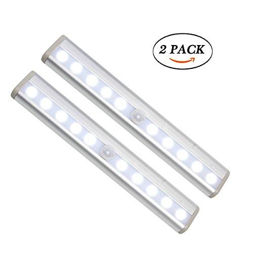 Motion Sensor Kleiderschrank Licht, Laputa 2Pack 10 LED batteriebetriebene tragbare Wireless Cabinet LED Nachtlicht mit Stick-on Magnetstreifen für Schrank Schrank Treppen Waschraum