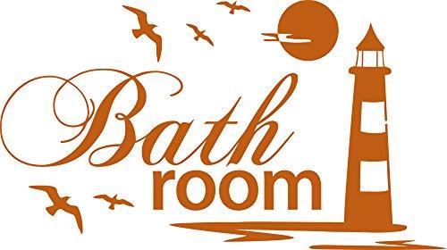 Graz Design Wandtattoo Badtattoo Bathroom mit Leuchtturm | Wand-Aufkleber für Dein Bad und WC | Tür-Schild Wellness-Aufkleber | auch für Spiegel - Fenster- Dusche geeignet (54x30cm // 083 haselnussbraun)