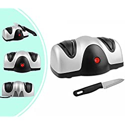 Leogreen - Aiguiseur Electrique de Couteau, Affûteur à Deux Niveaux, Noir/Argent, Matériau: Plastique ABS