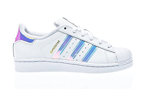 adidas Superstar J, Zapatillas Unisex Niños, Blanco Footwear White/Metallic Silver-Solid 0, 38 EU