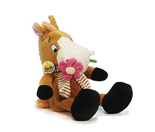 Unbekannt Sunny Toys 35744 - Plüsch Pferd sitzend mit Blume, circa 50 cm