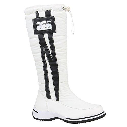 Stiefelparadies Damen Winterstiefel Warm Gefütterte Stiefel Strass Winter Boots 152602 Weiss Schwarz 39 | Flandell® (Boots Winter Weiße)