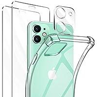 ivencase Funda Compatible con iPhone 11 Transparente, 2 Pack Cristal Templado y cámara Protector de Pantalla, Silicona Transparente TPU Carcasa Protector Airbag Anti-Choque Anti-arañazos Carcasa