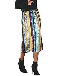 Lenfesh_Vestidos Falda para Mujer,Lenfesh Mujer Falda Fiesta con Lentejuelas de Cintura Alta Falda Larga Cintura Alta Fiesta Noche Cóctel de Las Mujeres
