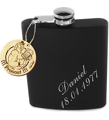 Flachmann schwarz-matt Edelstahl 200ml mit Wunschgravur, Wunschtext, Grafik oder Logo