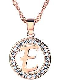 17d39730d3dc Suplight Collier Femme Lettre Chaîne Fine Réglable avec Pendentif Signe  Initial Médaille Ronde Bijoux Fantaisie pour