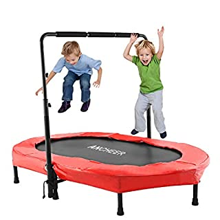 ANCHEER Kids Trampoline with Adjustable Handle for Two Kids, Parent-Child Trampoline Exercise Indoor or Outdoor (Age 3+) (Red)