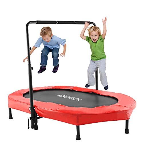 ANCHEER Sports Trampoline pour Deux Enfant Intérieur/Extérieur Mini Trampoline Fitness Pliable avec Poignée Réglable Trampoline Parent-Enfant (Rouge)