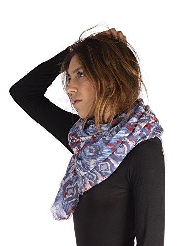 Foulard in morbida viscosa 100% | sciarpa colorata a fantasia | accessori coprispalle donna | scialle donna stampe varie | dimensioni 180x100 (geometrico)