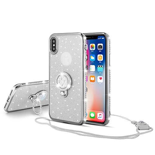 UEEBAI Hülle für iPhone X XS,Glitter Etui Eingelegten Diamond Soft TPU Handyhülle Drehbare Strass Ring 360 Grad Ständer Ultra Dünn Schutzhülle Mädchen Frauen Umhängeband für iPhone X/XS - Silber - Lichter Finger-ring
