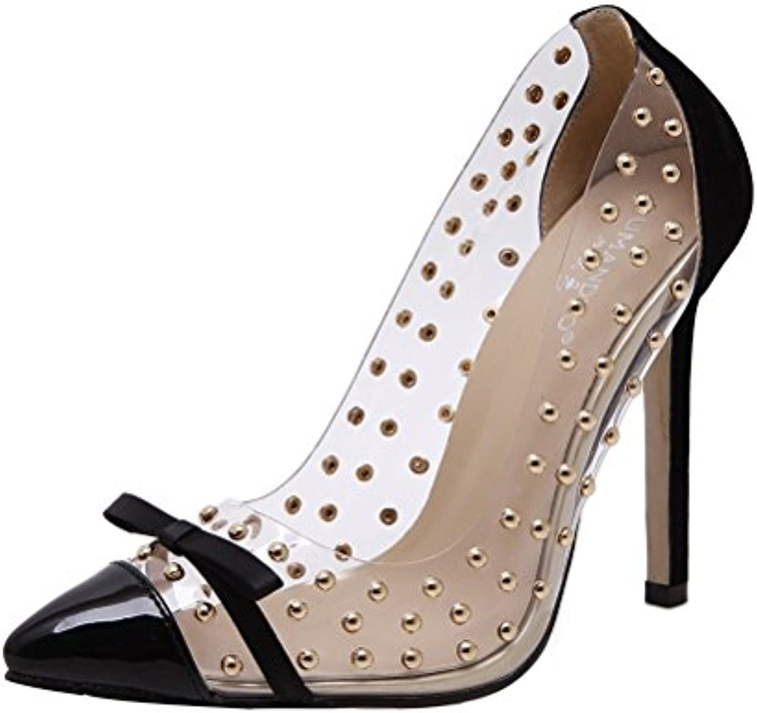 3ac5fd992e84 Agodor Womens Stiletto High High High Heels Court Shoes With Bowtie Rivets  Pumps Pointed Toe Party Shoes B078YR3WBS Parent e1fcc0