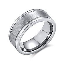 Bling Jewelry Carta Opaca per Centro Coppie di Stripe Fede Nuziale Anello di Tungsteno per Uomini per Donne Il Tono Dell'Argento 8Mm