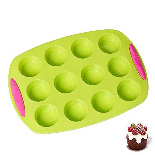 Mini-Muffin mit 12 Löchern/Yorkshire-Pudding/Cupcake-Pfanne, buntes Silikon in Lebensmittelqualität mit zweifarbigen texturierten Griffen
