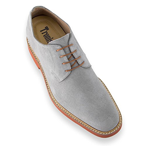 Masaltos Chaussures Réhaussantes Pour Homme avec Semelle Augmentant la Taille JusquÀ 7cm. Fabriquées en Peau. Modèle Corby A Gris