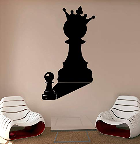 zhuziji Chessman Vinyl Wall Decal for Kids Room Removable Chess Piece Interior Playroom Sports Wall Stickers Home Art Mural DIY 42x73cm