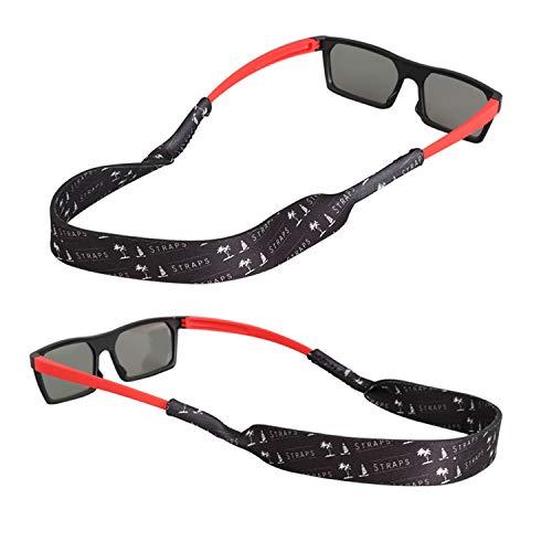 FTALGS Neopren Eyewear Retainer, Kein Schwanz Sport Sonnenbrille Retainer, Sonnenbrille Gurt Sicherheit Brillen-Halter für Kinder Ideal zum Laufen, Reiten, Klettern, Tauchen [2 Pack] (Schwarz)