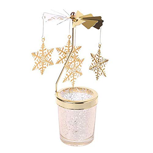 Fairylove Mercury Glass Rotating Flying Snowflake Kerzenhalter (Gold)
