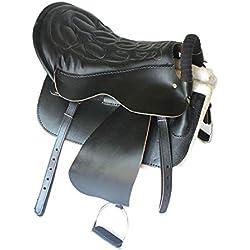 Warmth Supplies Silla Caballo arneses equitación Equipo Acero Esqueleto turistas sillín cinturón Leggings establos Completo Cuero Accesorios