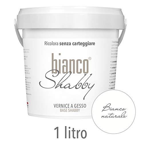 BIANCO SHABBY Chalk Paint Pittura Shabby Chic Vintage per Mobili e Pareti Bianco Naturale EXTRA OPACO (1 Litro)
