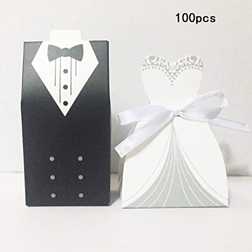 Wohlstand 100 pcs Cajas de Caramelos Cajas de Regalo Regalo, Recuerdo, Favor, Detalle, Decoración para Invitados de Boda 10cm x 5.8cm x 3.8 cm/8.5cm x 5.8cm x 3.8 cm(50pcs Novia + 50pcs Novio)