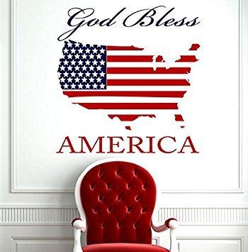Patriotische Geschenk für Damen Oder Herren-God Bless America Vinyl Wand Aufkleber mit USA Karte Silhouette, der Amerikanischen Flagge Rustikal Home Decor
