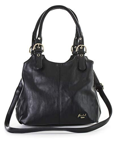 (Mabel London Mehrfachtaschen Mittlere Größe Umhängetasche/Schultertasche für Frauen - Mit langem Schulterriemen - AMELIA (Schwarz (mit Taschenanhänger Charm)))