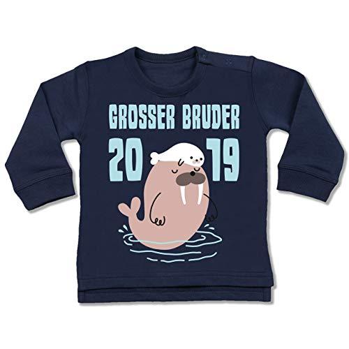 Shirtracer Geschwisterliebe Baby - Walross - Grosser Bruder 2019-12-18 Monate - Navy Blau - BZ31 - Baby Pullover