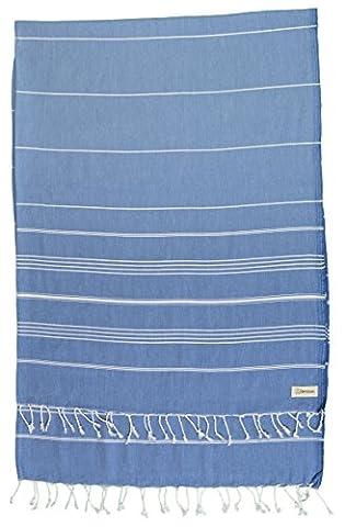 Bersuse 100% Baumwolle - Anatolia XL Decke Türkisches Handtuch - Mehrzweck Bett- oder Sofa-Überwurf, Tischdecke oder als Picknickdecke - Badestrand Fouta Peshtemal - Klassisches gestreiftes Pestemal - 155 X 210 cm, Grau-Blau