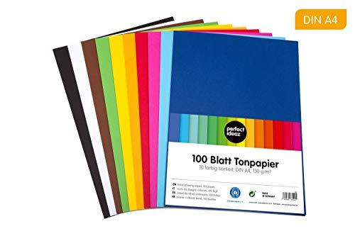 perfect ideaz 100 Blatt buntes DIN-A4 Ton-Papier, Ton-Zeichen-Papiere bunt, Set aus 10 Farben, bunte Blätter in 130g/m², Bastel-Bogen farbig, Zubehör zum Basteln, farbiges Material, DIY-Bedarf -