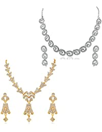 Apara Gold And Rhodium Plated Necklace Set Combo For WOmen