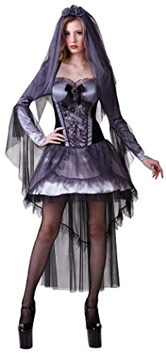 Kostüm Corpse Bride Dead - Ladies Sexy Dead Zombie Dark Corpse Bride Divorce Halloween Party Fancy Dress Costume Outfit UK 10-12-14 (One Size (UK 10-14))