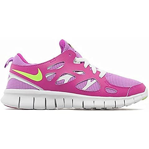 Nike Free Run 2 (GS) Laufschuhe fuchsia glow-key lime-fuchsia flash-white - 36,5 by Nike