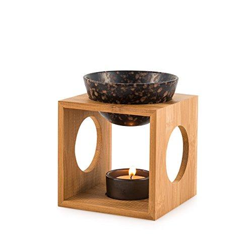 """Pajoma Bambus/Keramik Duftlampe \""""Fire\"""" , L 12 x B 12 x H 12,5 cm"""