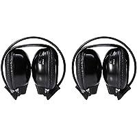 Cheap confezione da 2, colore: nero, per 2 canali Wireless, con cuffie con auricolari a infrarossi per autoradio, per TV, DVD, CD, con Radio, lettore Mp3, sistema di cancellazione del rumore