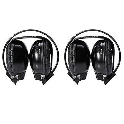Günstige One Paar 2Best schwarz zwei Kanal zusammenklappbar Kabelloser Infrarot-Kopfhörer Headset Ohrhörer In-Ear für Auto Audio Radio DVD CD TV MP3-Player System Noise Cancelling