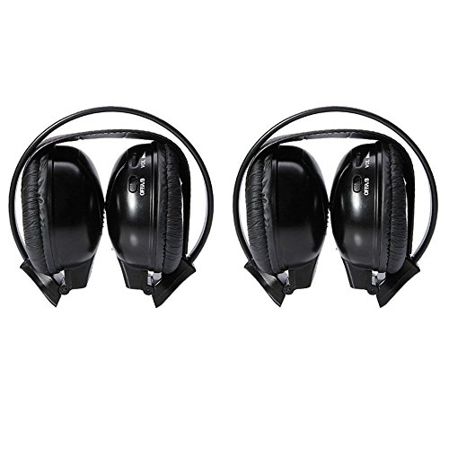 Barato un par de 2pcs mejor negro dos canal plegable inalámbrico por infrarrojos auriculares Headset auriculares auriculares para coche sistema de audio Radio DVD Reproductor de CD TV MP3cancelación de ruido