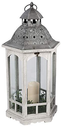 dekojohnson Orientalische Laterne Deko-Laterne Holz-Laterne Vintage Antik Weiß Rustikal Retro Lampe Metalldach 38x64cm - Antik-weiß, Rustikales Holz