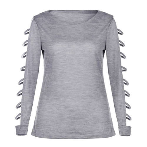 Wolfleague Femmes T-shirt Tenue Manche longue Creux Couleur unie Col rond Tops Chemisier Printemps Été Gris