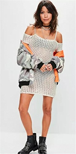 Moda Cold Open Shoulder Spalle Scoperte a Maniche Corte Hollow Out Knitwear Sweater Maglione Maglia Mini Corte Corta Bodycon Aderente Fasciante Dress Vestito Abito Bianco
