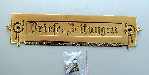 Graf von Gerlitzen Antik Style Jugendstil Briefschlitz Briefklappe Brief Schlitz Klappe Brief Einwurf Briefeinwurf Post Postklappe Messing TLP-1P