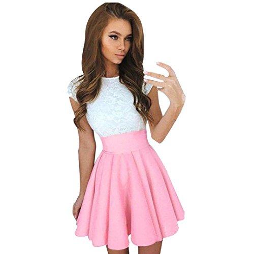 feiXIANGMode Kurz Abendmode Dancewear Shirtkleid Tutu Kleid für Damen Spitzen Party Mini Kleid aus Spitze mit kurzen Ärmeln Damen Kleider Sommer Rock (M, ()