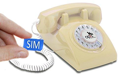 Opis Technology OPIS 60s MOBILE: móvil de sobremesa/teléfono fijo con sim/teléfono móvil para mayores/teléfono retro móvil con disco de marcar (crema)