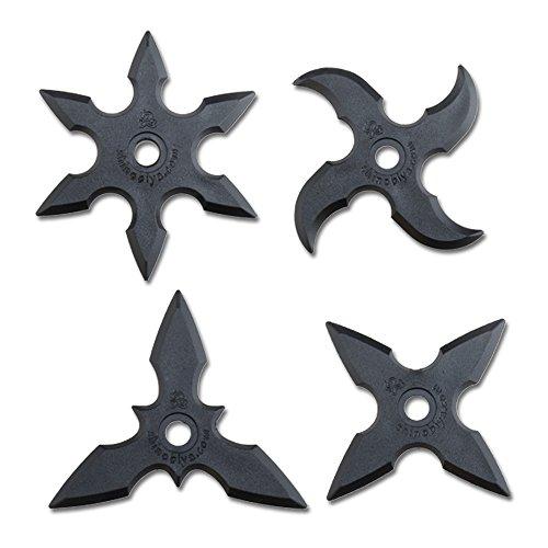 Gummi Wurfspiel Sterne 4 Stück Set Ninja Japan Fasching