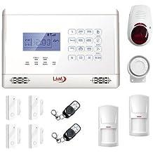 LKM Security WG YL007M2E SIR 3S-Kit de Alarma Inalámbrica, GSM/PSNT con 4 Sensores y Sirena Exterior, Color Blanco, M