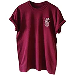 AILIENT Mujeres Clasicos Camisetas Manga Corta Casual Tshirts Piña Impresas Blusas Camisas Blusas Túnica Cuello Redondo Fashion