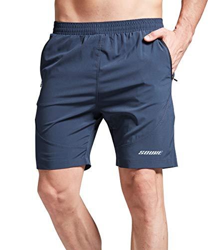 Souke Sports Herren Laufshorts Schnelltrocknend 2 in 1 Shorts Sporthose Herren Shorts Atmungsaktiv Trainingsshorts mit Reißverschlusstaschen