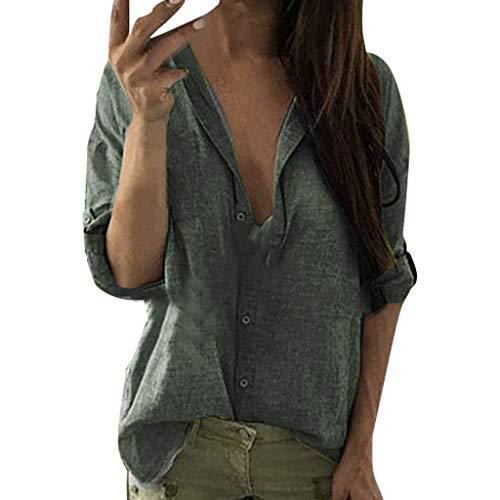 QingJiu Damenmode Einfarbig Langarm Revers Knopf Lässig Top T-Shirt Shirt (Kurzarm-kleid Karriere Frau)