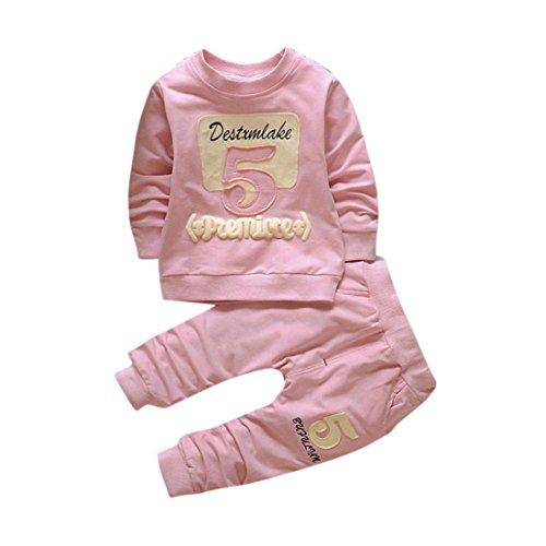 Pullover Set Kleinkind Btruely Unisex Kinderbekleidung Baby Clothes Set Langarm Spielanzug + Hosen Kappe Outfits Kinder (90, Rosa) (Rosa Denim Ärmelloses Shirt)