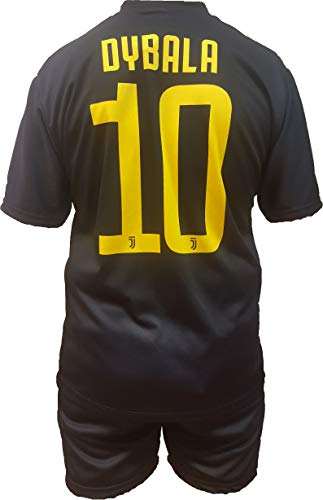 Completo terza maglia nera juventus paulo dybala 10 replica autorizzata 2018-2019 bambino (taglie-anni 2 4 6 8 10 12) adulto (s m l xl) (12 anni)